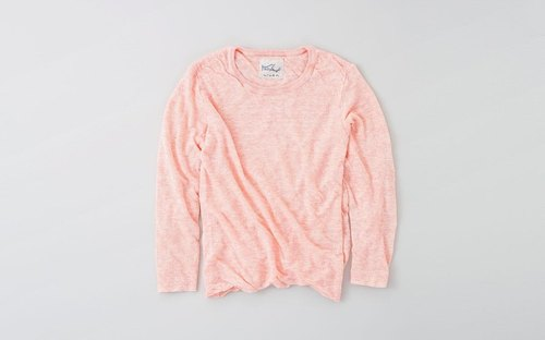 Linen knit women / L long-sleeved pullover (Pink)
