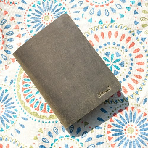 Vintage green leather notebook