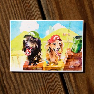 Watercolor Painted Baby Series Postcard - Nintendog