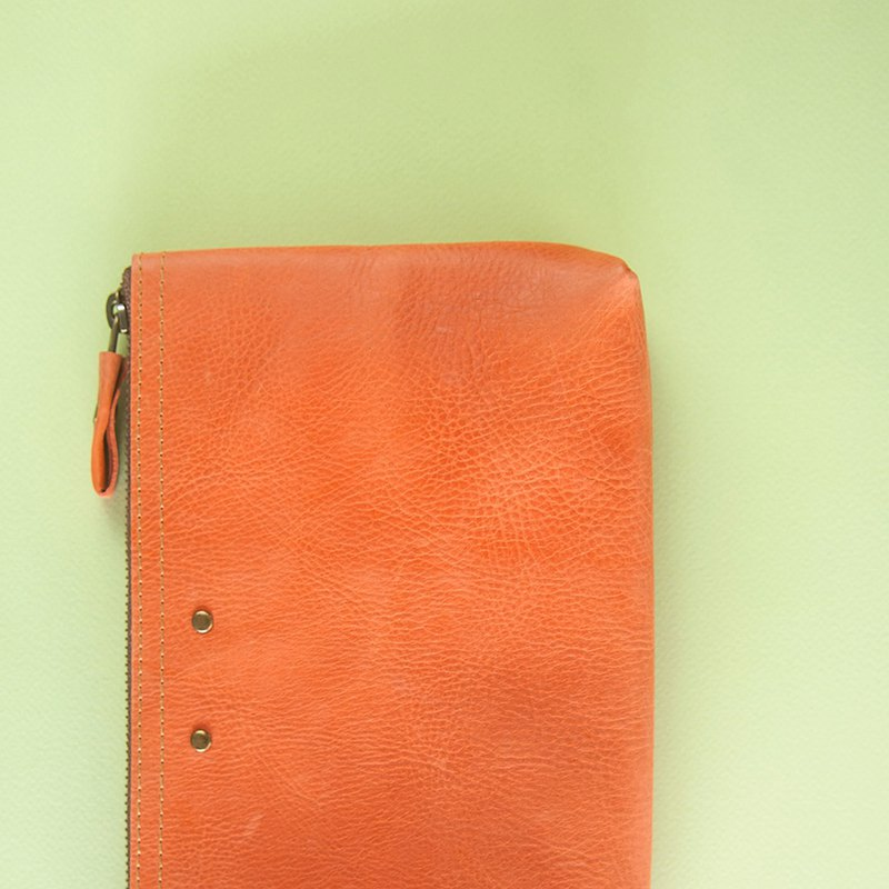 Colorful leather case, Leather pouch, Organizer case, Pencil case, Orange
