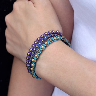 Studded Boho Rock Bead Bracelets Woven Strong Punk Blue Cuff