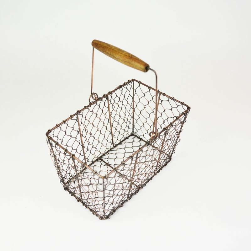 Iron basket series - rectangular small basket - fair trade