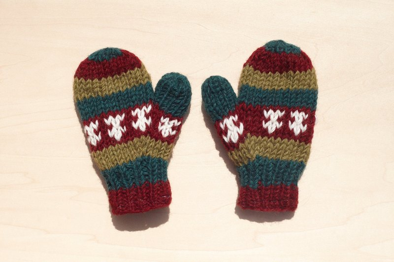 Christmas gifts handmade limited edition pure wool knitted warm gloves / gloves for children / child gloves / bristles gloves / knitted gloves / mittens - Eastern Europe Totem Ocean stripes