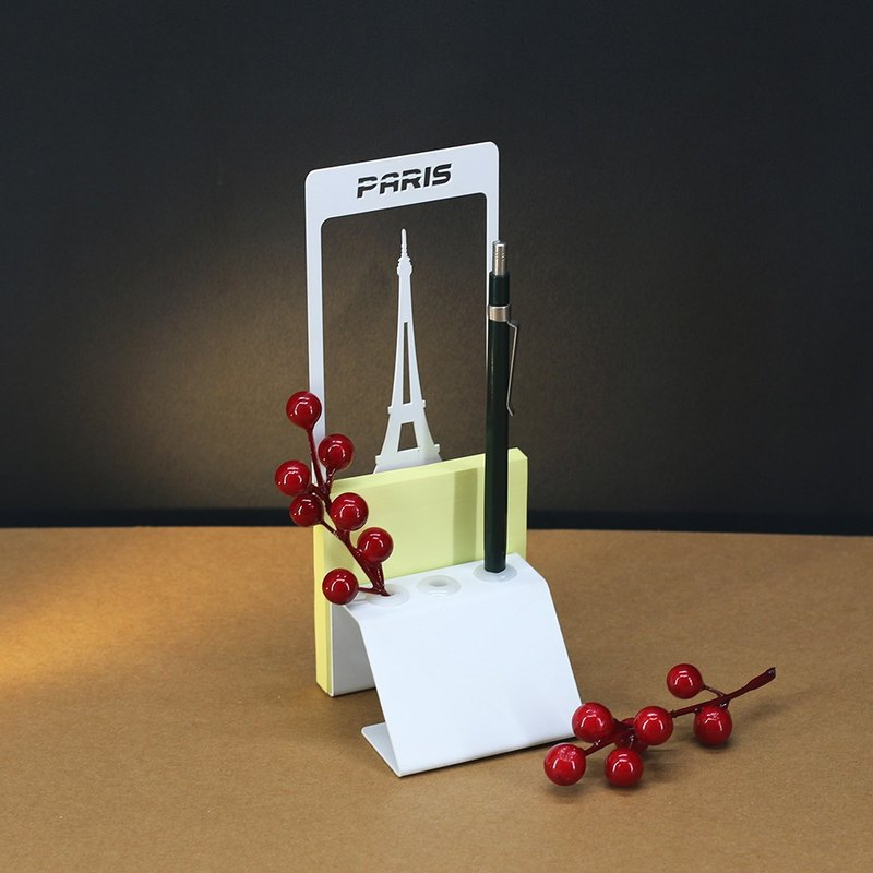 [] OPUS Dong Qi metalworking Tower in Paris, France - notes Pen Holder (white) / Continental Iron Architecture Pen penholder / sticky memo paper business card storage / office stores necessary study / Father's Day gift PE-pa12 (W)