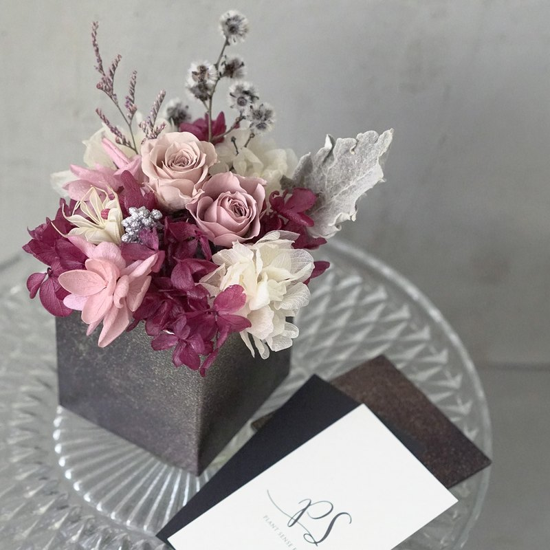 Chinese Valentine's Day smoked pink eternal rose without hydrangea hydrangea copper flower small table flower bouquet
