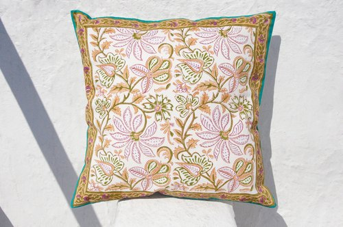 Valentine's Day gift limited handmade woodcut printing pillowcase / cotton pillowcase / printing pillowcase / hand-printed pillowcase - desert color flower vines