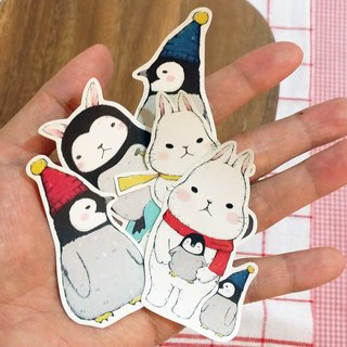 Matte Texture Stickers / Cute White Rabbit and Penguin Baby / Group 10 (5 in)