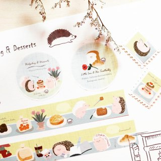 Paper Tape L Little Toad Coffee Shop Hedgehog and Desserts