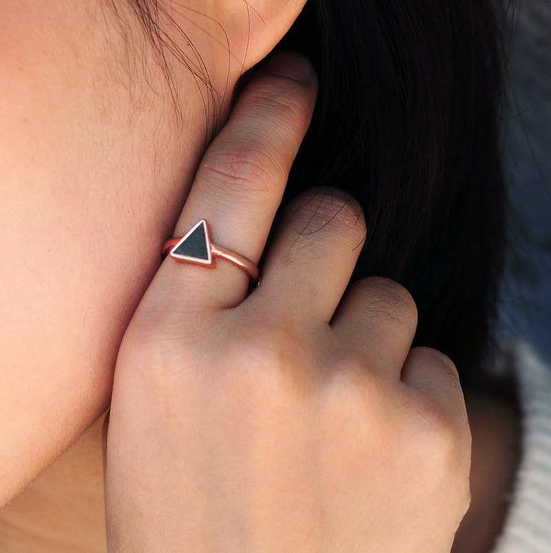 Black Concrete Triangle Ring (Silver/Rose Gold) | Geometric Series