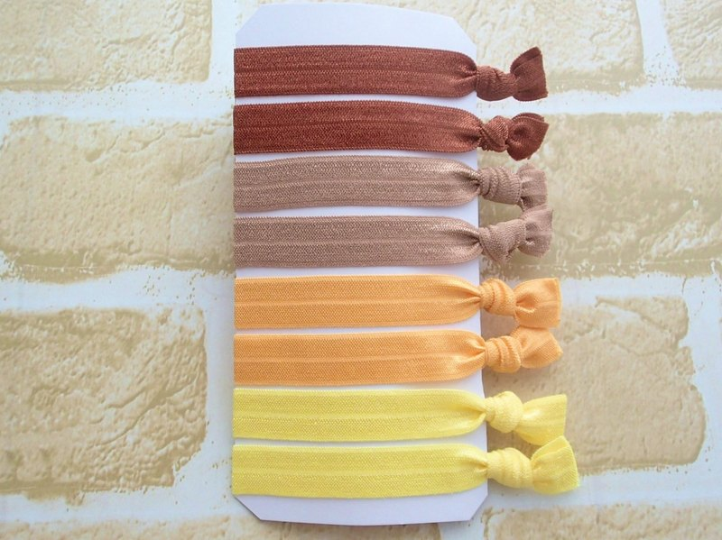 Hair Ties,Set of 8,Elastic Hairband,No Crease,Creaseless,Fold Over Elastic,Ponytail Holders,Bracelet,Yellow,Brown,Solid
