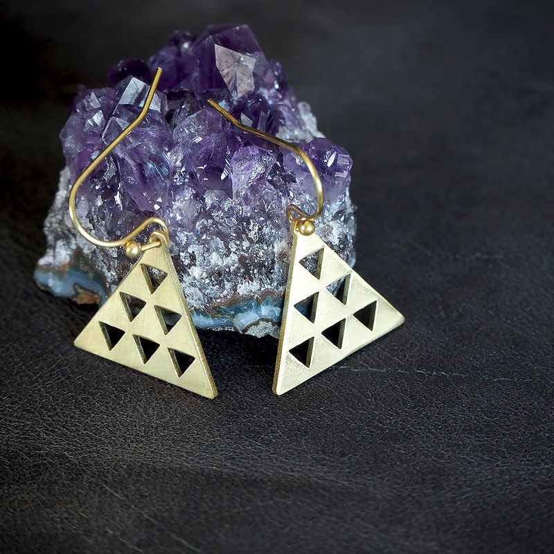 Triad earrings (brass hand made)