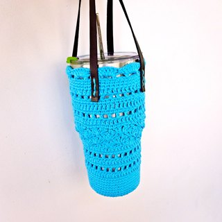 Deep blue cotton handkerchief woven bag water bottle bag bag green bag