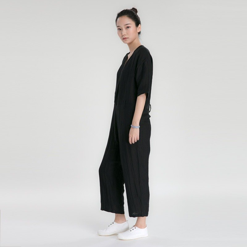 BUFU  soft Jumpsuit in black P170216