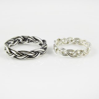 Love silver ring - knot (a pair)