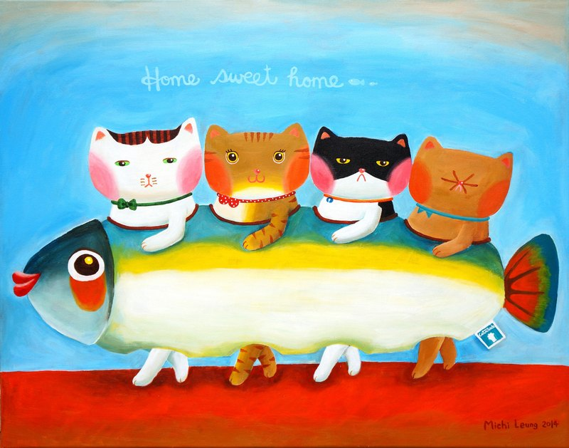 [] Cattitude Cat oil paintings Order - Warm Family Series -F18