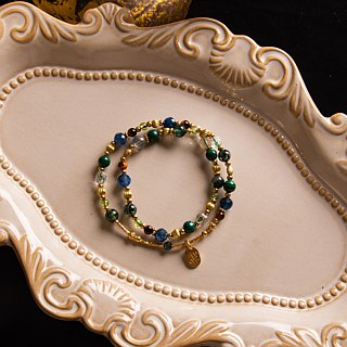 <Slow temperature natural stone>C1246 blue crystal phoenix stone double circle bracelet // green light fairy