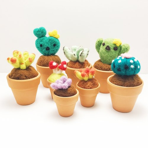 [I am a green finger] wool felt potted plants - 2-inch pots and more fleshy potted cactus heart leaves 毬 blue