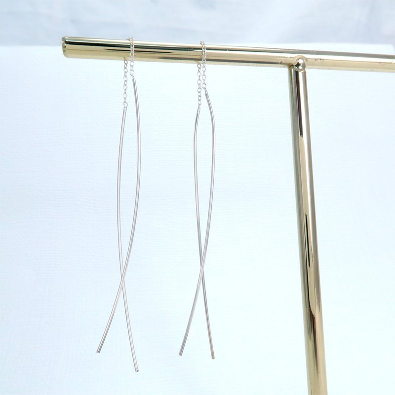 Minimalist hand double straight long chain sterling silver earrings