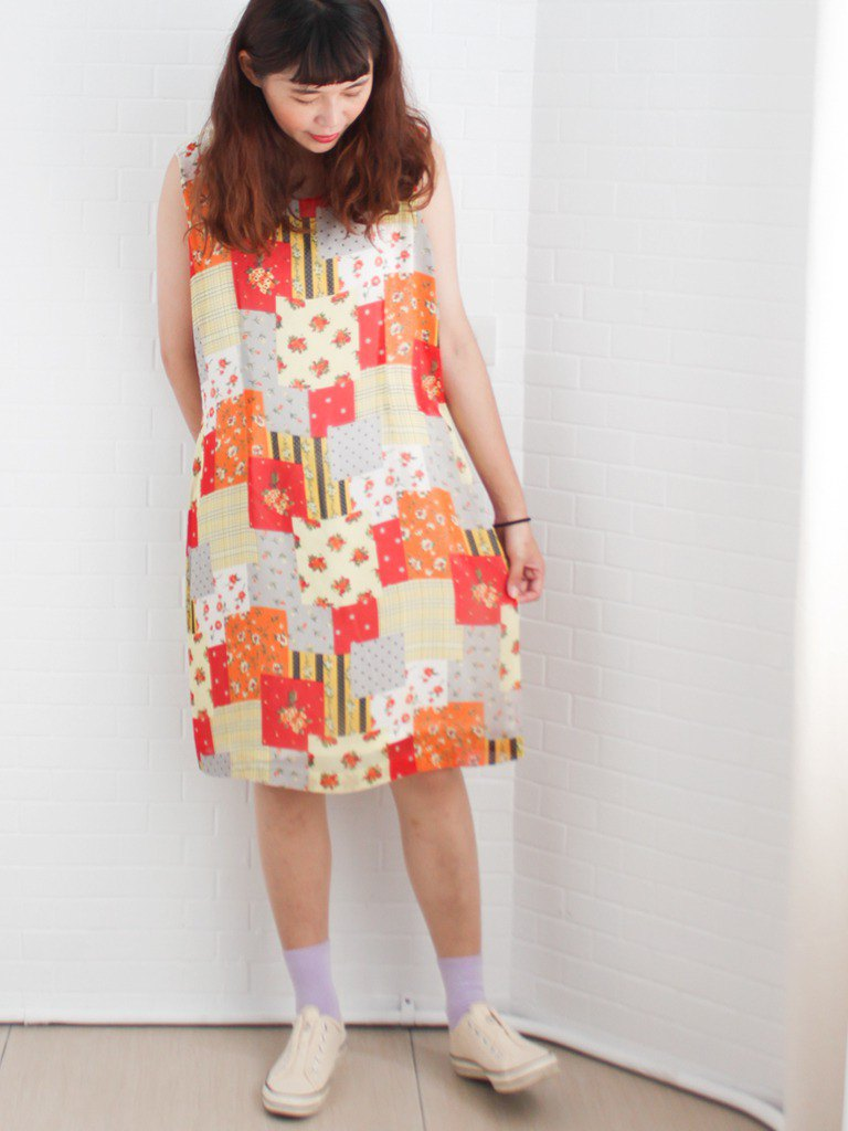 Retro early autumn cute mosaic floral plaid plaid mix sleeveless orange vintage dress