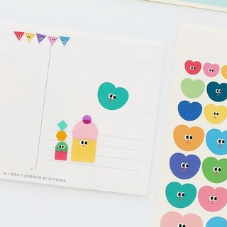 Livework-Somsom Geometric Sticker Set - Heart-shaped, LWK37460
