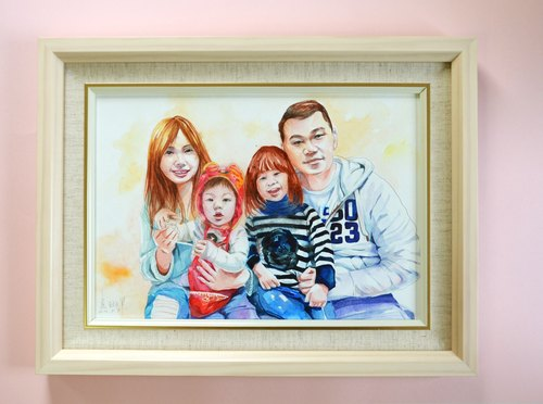 Tabby sheep custom painting - family portrait -A4 (Hankuang)
