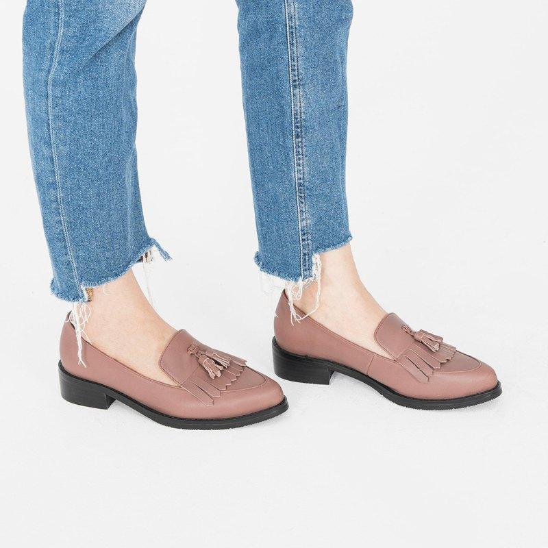 齊瀏海飾片!寬楦小流蘇樂福鞋 藕 MIT 全真皮-薊紫色