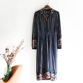 River water - Wakayama sea blue floral century romantic antique one-piece cotton skirt dress overalls oversize vintage dress