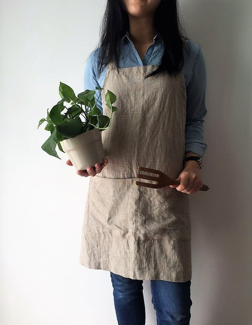 Linen Apron -Criss Cross Apron, No Tie Apron with Front Pockets - 1 size fit ALL
