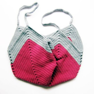 Tote bag shopping bag bag 100% cotton yarn hand crochet knitting two-color version