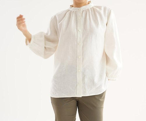 Linen Fluffy Stand Collar Shirt Tunic / White b32-12