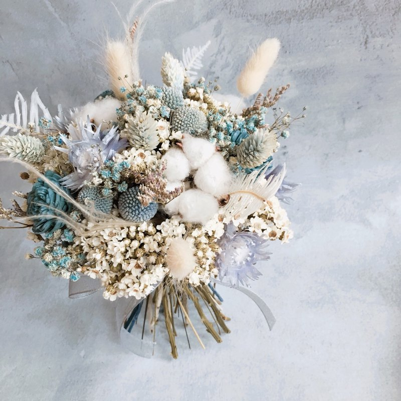 Bridal bouquet [blue is the warmest color] - wedding / dry flowers / Valentine's Day gift