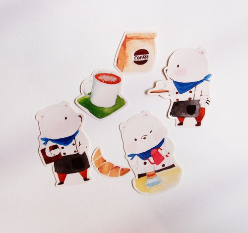 Bear coffee house stickers / waterproof