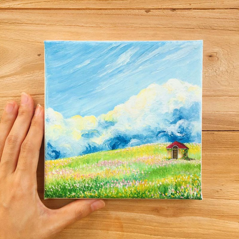 Impasto Landscape Oil Painting.Small Hut Grass Field Flower Meadow.Textured Art.