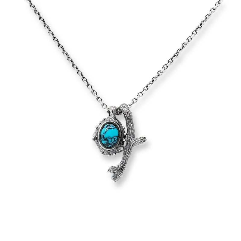 Turquoise branch combination necklace dead branch series 925 silver handmade silver