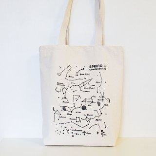 Spring Star / Constellation Canvas Bag - Handmade / Printed