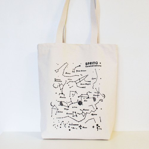 Spring star / constellation canvas bag {hand / silk screen}