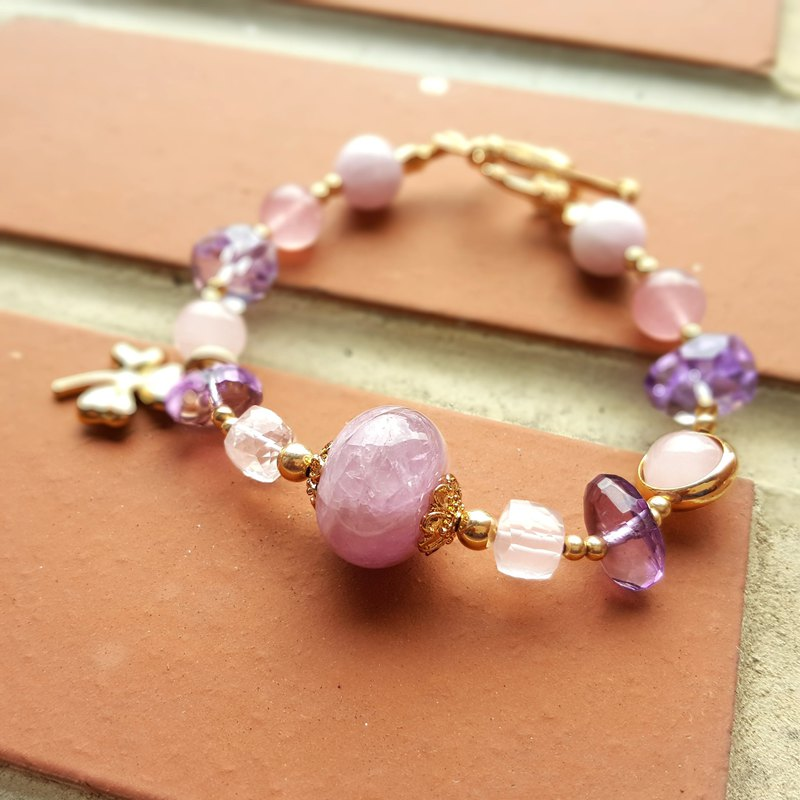 Girl Crystal World [love lucky grass] two-color platter - powder and purple bracelet natural crystal hand made