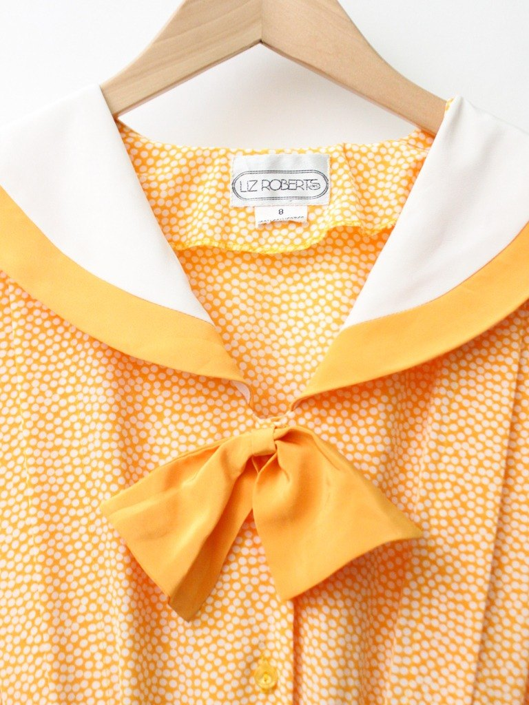 【RE0614D1224】 early summer Japanese Fanta soda little sailor big lapel short-sleeved orange ancient dress
