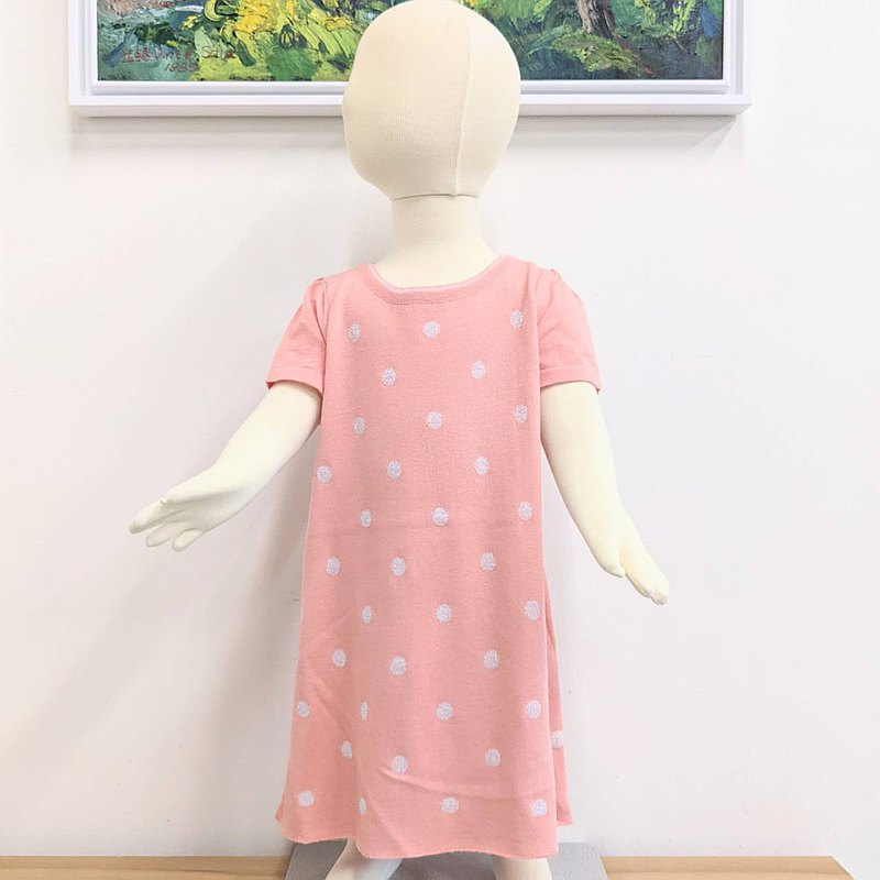TiDi silver onion dot coral pink cotton knitted dress