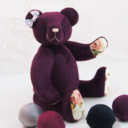 Teddy bear handmade Teddy bear texture purple 43cm custom color and embroidered word finished