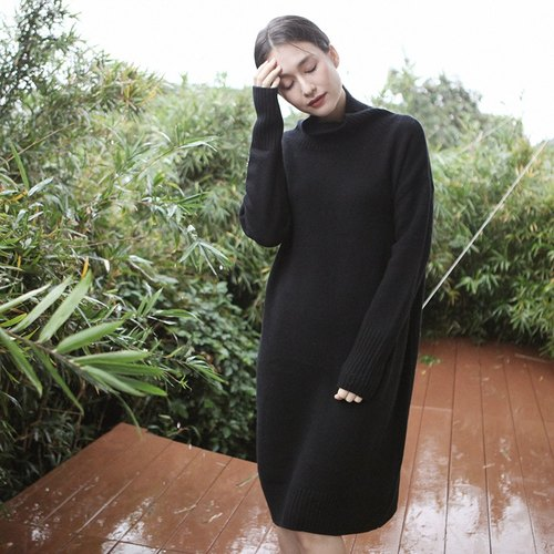 KOOW / Go Easy wild high collar dress for autumn and winter wool cashmere skin-friendly knit dress