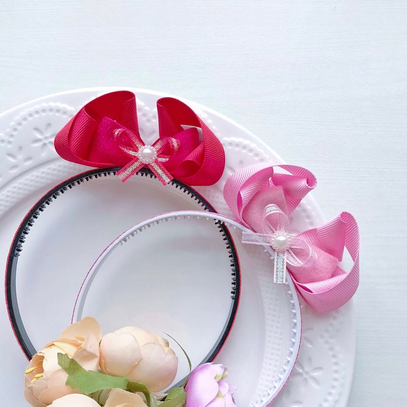 Three-dimensional cute bow ear plaid children's headband hair accessories