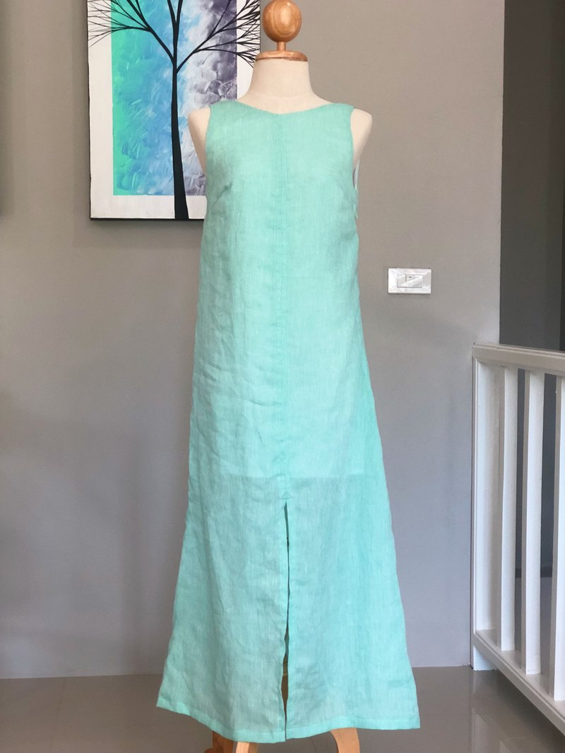 Classic Green Linen Maxi Dress | Long Dress