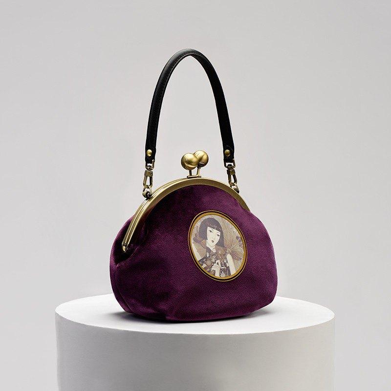 CoinQian海上媛复古口金包紫色手提包