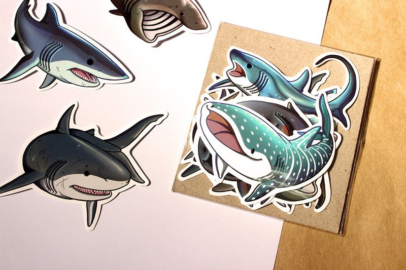 Tofu shark little spot whale shark 10 kinds of shark combination bag (sticker / whale shark / shark)