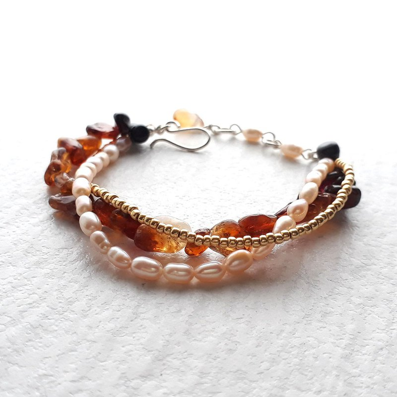 925 silver citrine and rice pearl mixed three-layer bracelet