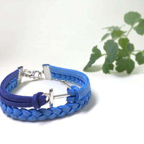 Handmade Double Braided Anchor Bracelets – blue limited