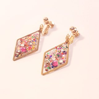 [Fireworks] Multicolored transparent sense diamond-shaped brass clip earrings