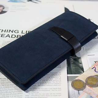 YOURS 10+1 card leather long clip / large banknote bag + change bag bright orange + logs