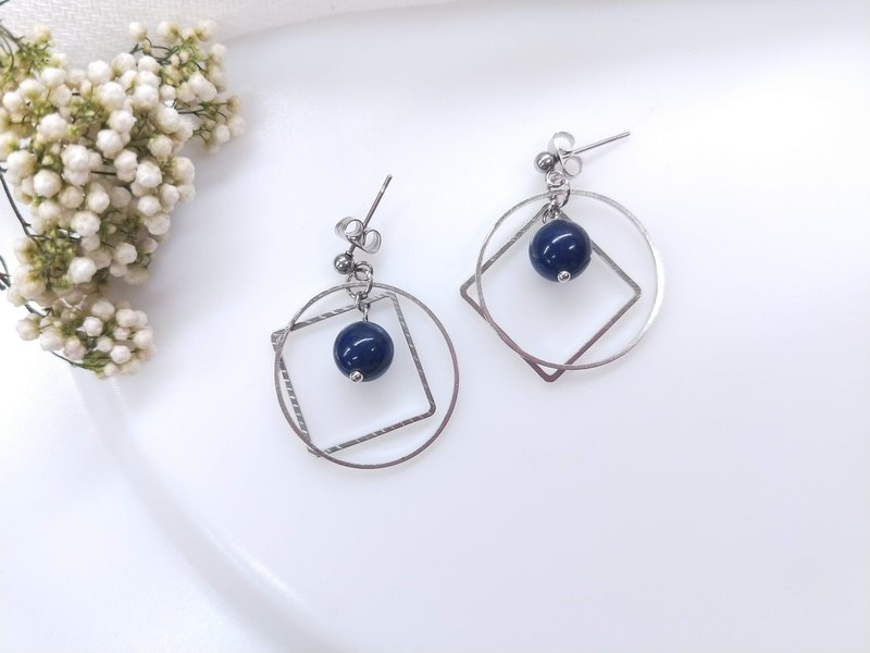 earring. Lapis Lazuli Geometric Circle Ear Pin Ear Clip Earrings